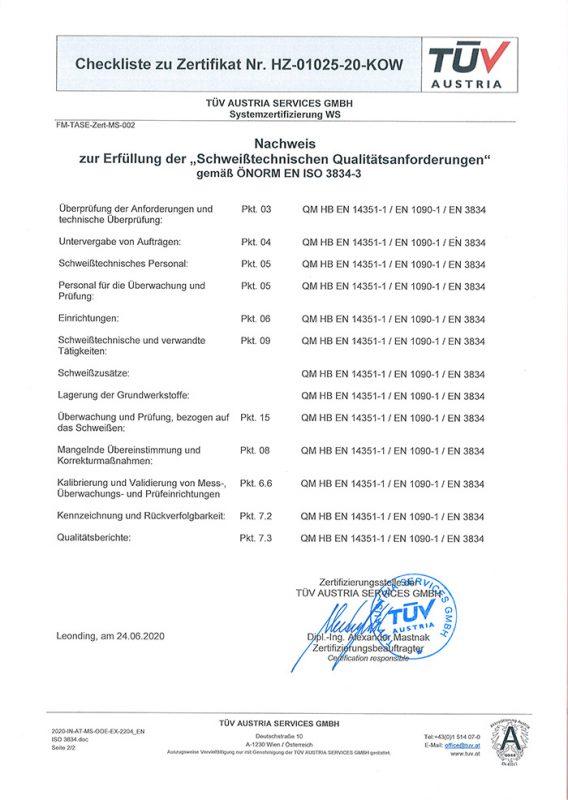 Checklist Zertifikat ÖNORM EN ISO 3834-3 - Schweißtechnische Qualitätsanforderungen