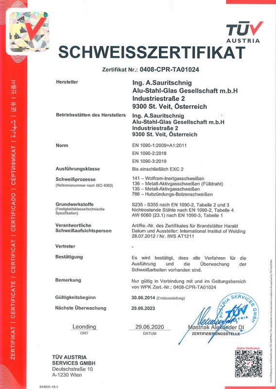 Schweißzertifikat EN1090 1-3 Ausf. EXC 2