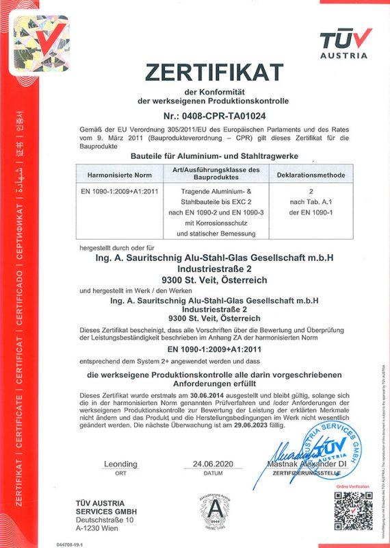 Zertifikat-EN1090-1-2009-A1-2011-Konformität-werkseig.-Produktionskontrolle