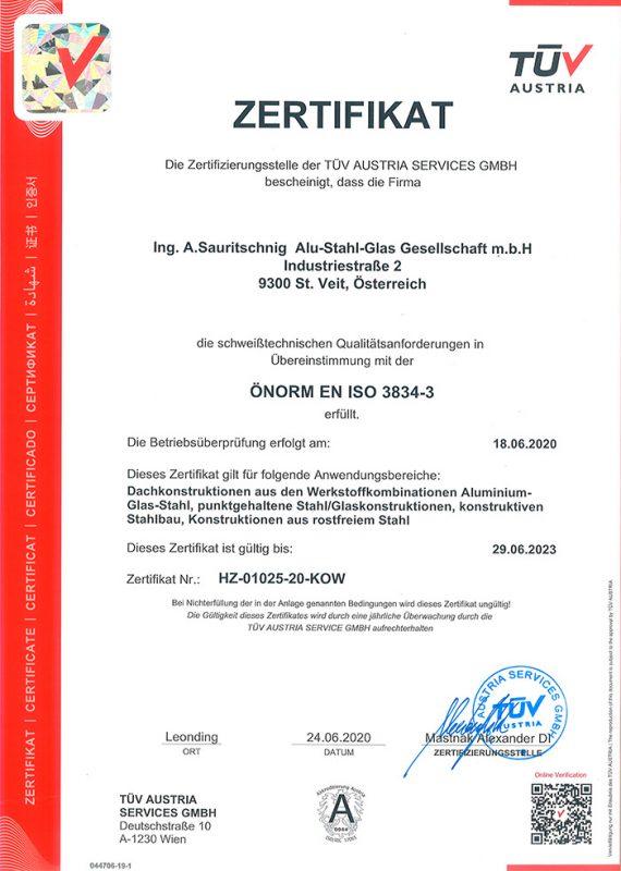 Zertifikat ÖNORM EN ISO 3834-3 - Schweißtechnische Qualitätsanforderungen